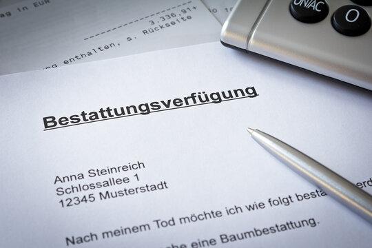 German advance funeral directive paper with bank statement: bestattungsverfügung