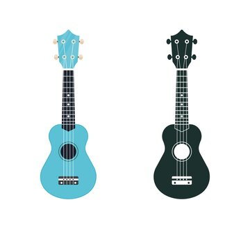 Soprano ukulele illustration and icon. Hawaiian uke string musical instrument.