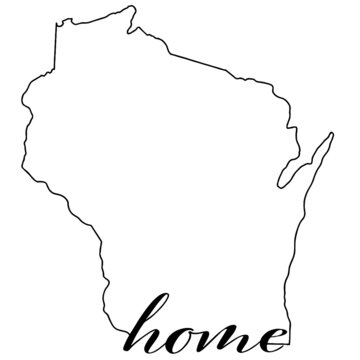Map of Wisconsin, outline vector graphic with home written on state