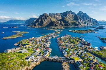 aerial view. flight over Alantic ocean and view on fishing village Henningsvaer .Lofoten Islands,Norway.