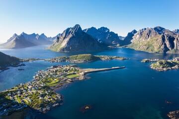 aerial view. flight over the Atlantic ocean,view on the fishing village Reine and Hamnoya .Lofoten Islands,Norway.