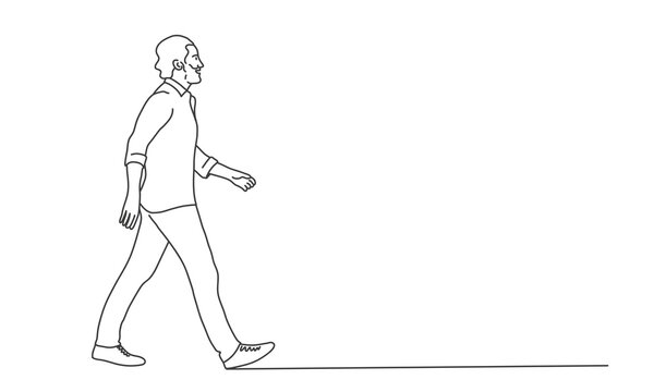 Walking man with beard. Line drawing vector illustration.