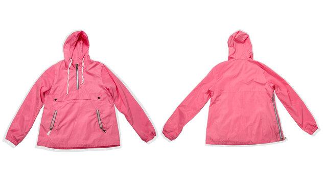 pink fashionable raincoat isolated on a white background, front and back blank jacket mock up