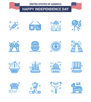 Editable Vector Line Pack of USA Day 16 Simple Blues of ice; american; building; fly; bloon