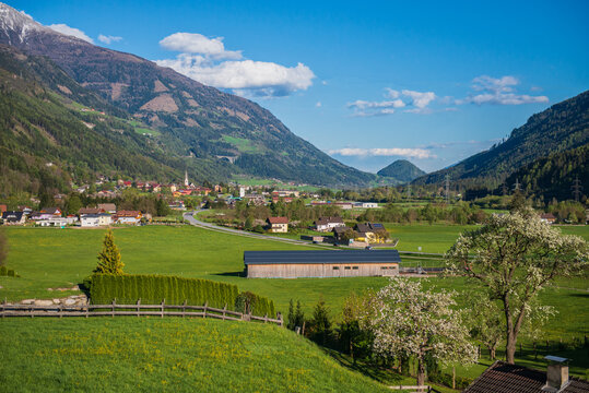 Panoramic top view at Obervellach in Upper Carinthia, Austria in april.