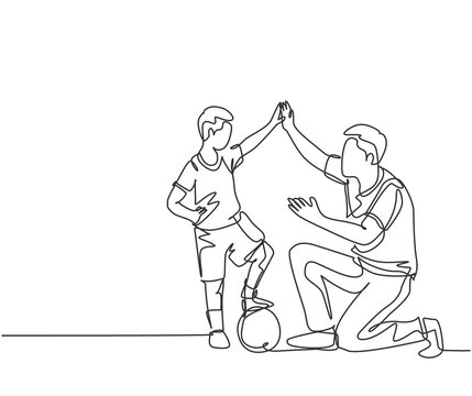 One line drawing of young happy father bow his body to give high five gesture to his boy while playing soccer on football court. Parenting concept. Continuous line draw design vector illustration