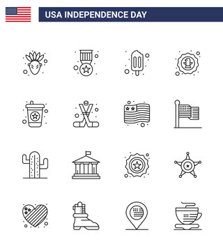 Stock Vector Icon Pack of American Day 16 Line Signs and Symbols for soda; beverage; popsicle; badge; celebration