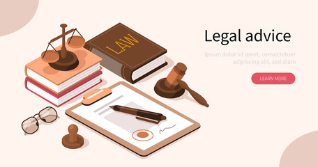 Lawyer Office Workplace with Signed Legal Contract, Judge Gavel, Scales of Justice and Legal Books. Law and Justice Concept. Flat Isometric Vector Illustration.