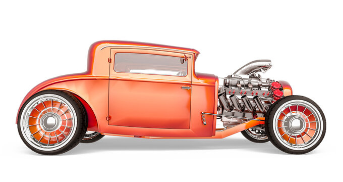 hotrod with no brand in white background side view