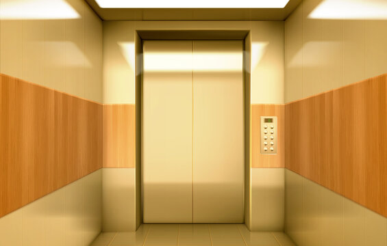 Empty golden elevator cabin with closed doors inside view. Vector realistic luxury interior of passenger lift with buttons panel and digital display with number of floor in house, hotel or office