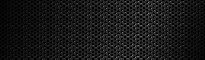 Papiers peints Metal Abstract dark black geometric hexagonal mesh material header. Technology banner with blank space for your logo. Vector abstract widescreen background