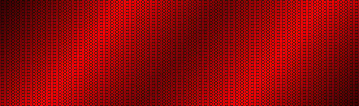 Abstract dark red geometric hexagonal mesh material header. Perforated metallic technology banner. Vector abstract widescreen background