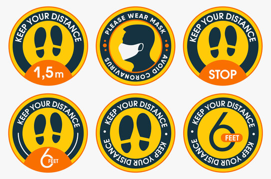Please keep your distance. Collections of social distancing marking round floor stickers. To protect yourself from the covid-19 coronavirus. Vector flat design.
