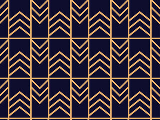 Art deco seamless pattern. Linear geometric art of the 20s in retro style. Vector illustration