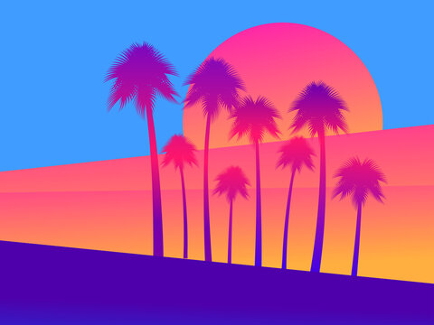 Tropical palm trees on a sunset background, a gradient of scarlet yellow. Vector illustration