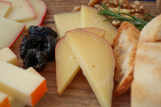 Close up of cheese platter with cheeses from Mahon, Menorca