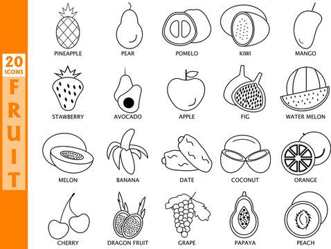 Fruits icon set. Simple vector illustration.