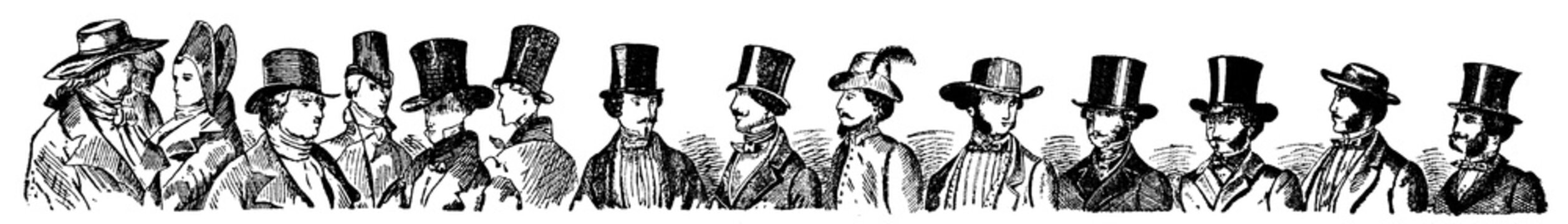 Fashionable men in hats, chapter separator in a book. Illustration of the 19th century. White background.