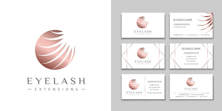 Eyelash extension logo with white lashes in bronze circle and a set of business cards. Design brand for beauty salon, lashes and eyebrows artist