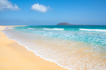 Beautiful view of  Grandes Playas in Corralejo Natural Park - Fuerteventura, Canary Islands, Spain