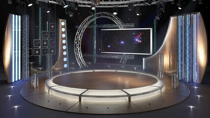 Virtual TV Studio Chat Set 23. 3d Rendering. Virtual set studio for chroma footage. wherever you want it, With a simple setup, a few square feet of space, and Virtual Set, you can transform any locati