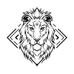 Fototapeta Lion Head Line Art Illustration