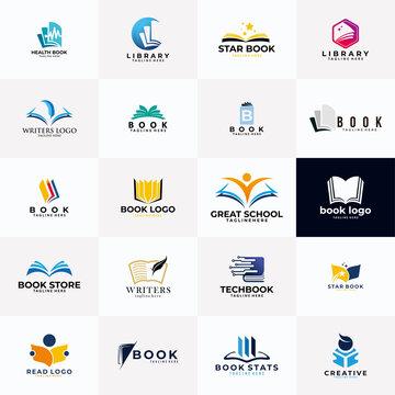 book logo icon vector set