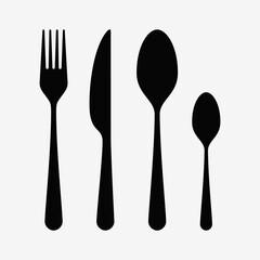 Cutlery set - Spoon, knife, forks - vector elements illustration