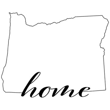 Oregon state map outline with the word home, vector illustration