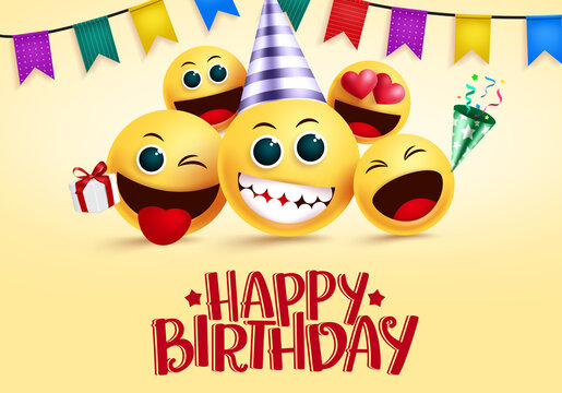 Birthday smiley emojis vector greeting. Happy birthday greeting text in empty space for messages with yellow smileys emoji and party elements for invitation card. Vector illustration.