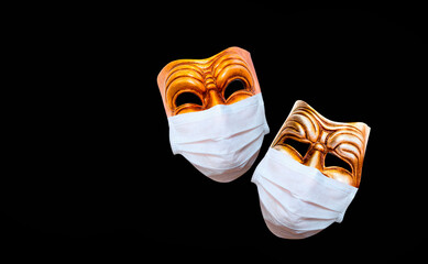 Comedy and tragedy theatrical mask  wearing protection medical mask