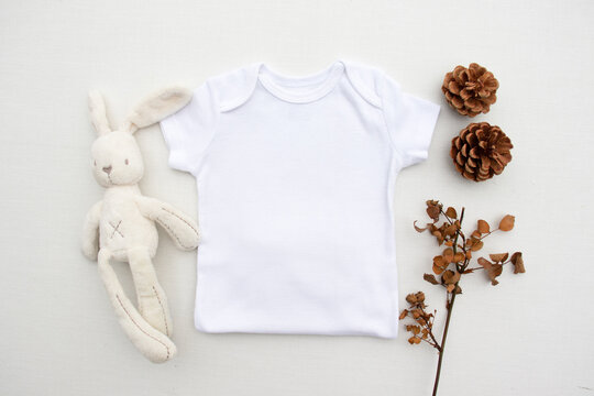 Blank white half baby bodysuit mockup - gender neutral