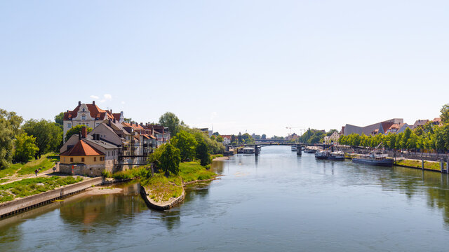 River danube iin Regensburg with historic buildings