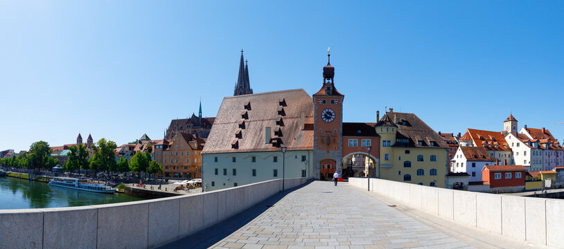 historic stone bridge at Regensburg over river danube