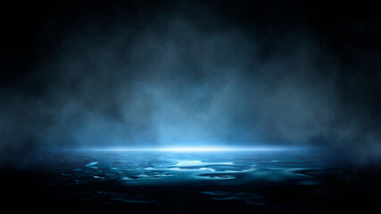 Fotomurales - Dark dramatic abstract scene background. Neon glow reflected on the pavement. Smoke, smog and fog. Dark street, wet asphalt, reflections of rays in the water. Abstract dark blue background.