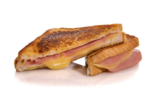 Toasted ham and cheese sandwich, croque monsieur, isolated on white background.