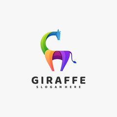 Vector Logo Illustration Giraffe Gradient Colorful Style.