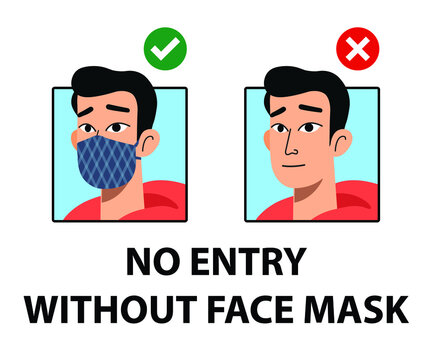 No entry without face mask signs. No face mask no entry sign Mask must be worn symbols. Man and woman characters wear mask signs.
