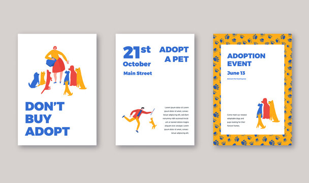 Animal shelter adoption event posters template. Vector iilustration with typography and characters, woman feeding dogs, man playing with dog.