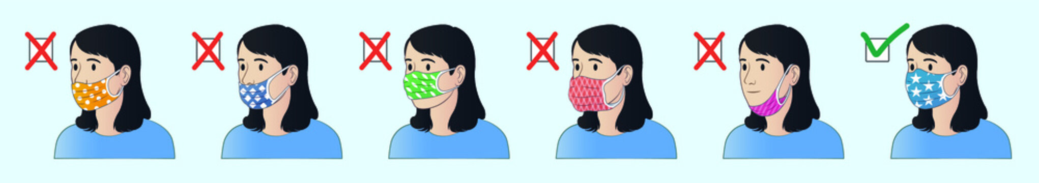 How to wear mask correctly. How to use mask properly. Correct ways to wear face mask. Common mistakes when wearing mask.