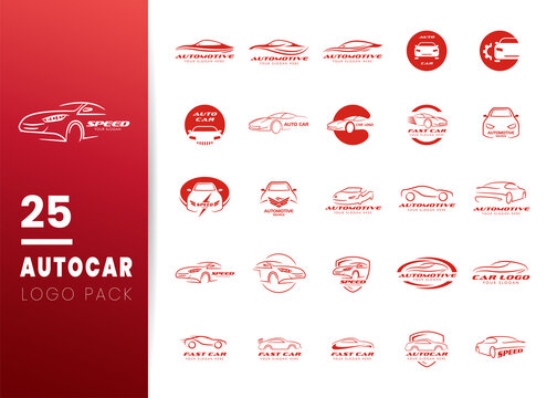 Set of Car, Auto, Automotive logo icon templates. Modern abstract sport car logo. Vector Illustration.