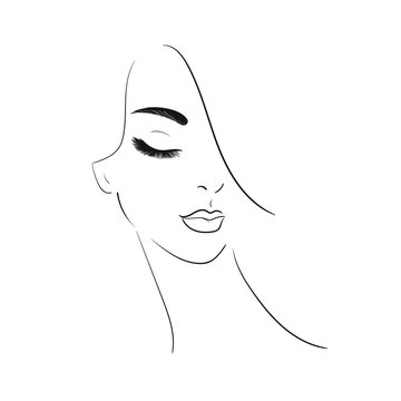 Young woman face with long eyelashes and ear.Beautiful girl face isolated on a white background.Stock Vector illustration.Glamour fashion beauty woman face illustration.