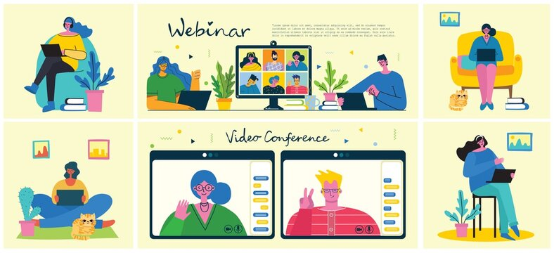 Webinar online business solution. People use video chat on desktop and laptop to make conference. Work remotely from home. Flat modern vector illustration.