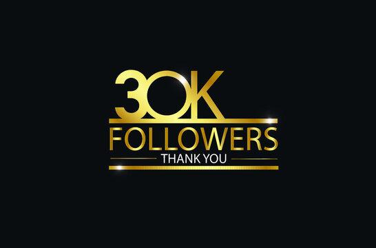 30K,30.000 Followers celebration logotype. anniversary logo with golden and Spark light white color isolated on black background, vector design for celebration, Instagram, Twitter - Vector