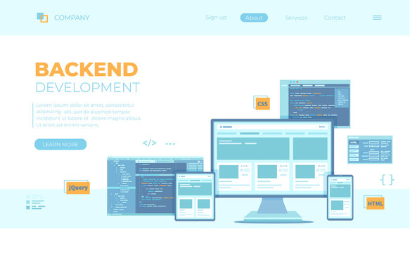 Backend Development, Coding, Software  Engineering, Programming languages. Program code on laptop screen, website template. Can use for web banner, landing page, web template.