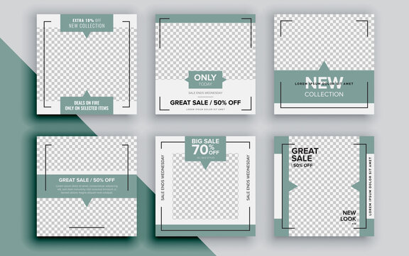 Set of sale banner template design. Vector illustration.