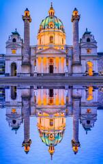 Fototapete - Vienna, Austria - Karlsplatz nightview with Karlskirche