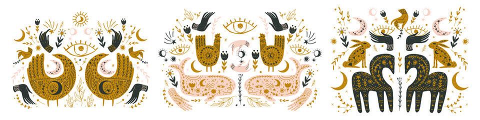 Modern bohemian style, folk tribal art in the Scandinavian style. Folk mythology, Swedish folklore. animals and plants.
