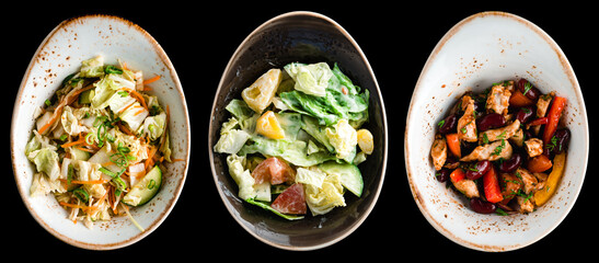 set of three salads in asian cuisine isolated