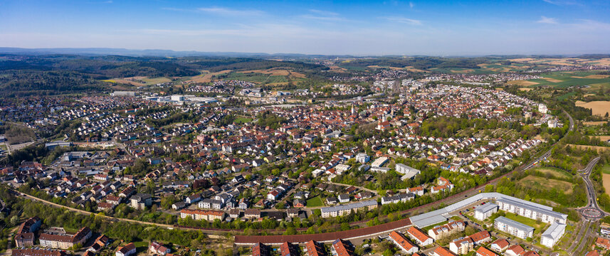 Aerial of the city Bretten in Germany. On a sunny day in spring
